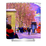 Mcgill Campus Eager Students Enter Roddick Gates Montreal Collectible Art Prints Carole Spandau  Shower Curtain