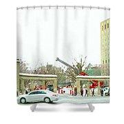Mcgill Campus Student Cycles By Roddick Gates Sherbrooke St Montreal Winter Scene Carole Spandau  Shower Curtain