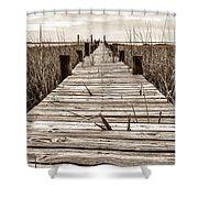 Mcteer Dock - Sepia Shower Curtain