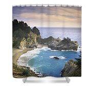 Mcway Cove Falls In Big Sur Shower Curtain