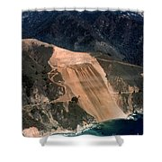Aerial Of Mcway Landslide Big Sur California 1984 Shower Curtain