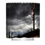 Me And Jesus Shower Curtain by Mark Spears