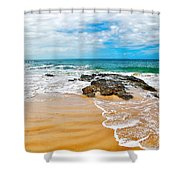 Meandering Waves On Tropical Beach Shower Curtain