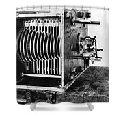 Mechanical Gear Number Sieve Shower Curtain by Underwood Archives