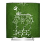 Mechanical Horse Patent Drawing From 1893 - Green Shower Curtain