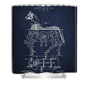 Mechanical Horse Patent Drawing From 1893 - Navy Blue Shower Curtain by Aged Pixel