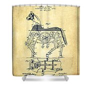 Mechanical Horse Patent Drawing From 1893 - Vintage Shower Curtain