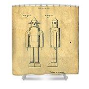 Mechanical Man Patent Shower Curtain