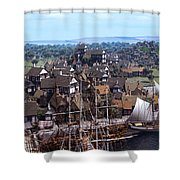 Med Village Shower Curtain by Dominic Davison
