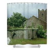 Medieval Church And Churchyard Shower Curtain