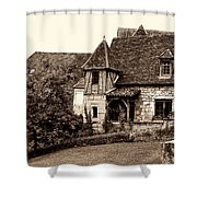 Medieval Cottage In Sarlat Sepia Shower Curtain