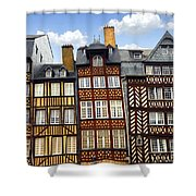 Medieval Houses In Rennes Shower Curtain