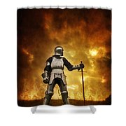 Medieval Knight In Armour On A Burning Battlefield Shower Curtain