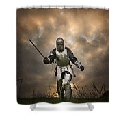 Medieval Knight In Armour On The Attack Shower Curtain