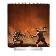 Medieval Knights In Armour Fighting With Swords Shower Curtain