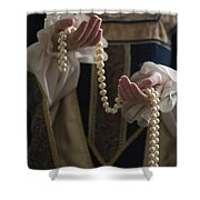 Medieval Or Tudor Woman Holding A Pearl Necklace Shower Curtain