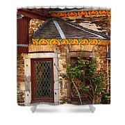 Medieval Window And Rose Bush In Germany Shower Curtain