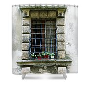 Medieval Window With Iron Grilles Shower Curtain
