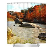 Fall Cypress At Bandera Falls On The Medina River Shower Curtain