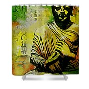 Meditating Buddha Shower Curtain by Corporate Art Task Force