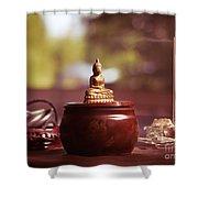 Meditating Buddha Statue Shower Curtain