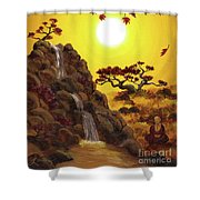 Meditating By A Golden Waterfall Shower Curtain