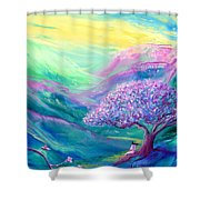 Meditation In Mauve Shower Curtain
