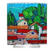Mediterranean Roofs 1 2 3 Shower Curtain