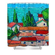 Mediterranean Roofs 1 2 Shower Curtain