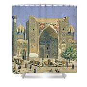 Medrasah Shir-dhor At Registan Place In Samarkand, 1869-70 Oil On Canvas Shower Curtain