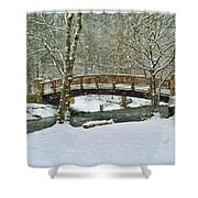 Meeks Park Bridge In Snow Shower Curtain