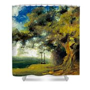 Meet Me At Our Swing Shower Curtain by Melissa Herrin