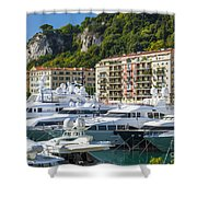 Mega Yachts In Port Of Nice France Shower Curtain