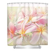 Mele Kalikimaka - Pink Plumeria - Hawaii Shower Curtain