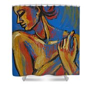 Mellow Yellow- Female Nude Portrait Shower Curtain