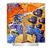 Melodies And Sunset Seas Shower Curtain