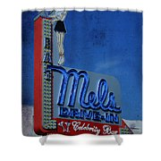Mels Drive In Celebrity Bar Shower Curtain by Janice Rae Pariza
