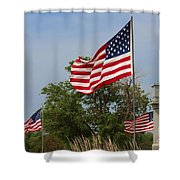 Memorial Day Flag's With Blue Sky Shower Curtain