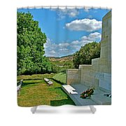 Memorial In Anzak Cemetery Along The Dardenelles In Gallipolii-turkey Shower Curtain