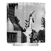 Memorial Statue Children Playing Juarez Chihuahua Mexico 1977 Black And White Shower Curtain