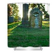 Memphis Elmwood Cemetery - Backlit Grave Stones Shower Curtain