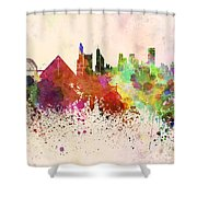 Memphis Skyline In Watercolor Background Shower Curtain