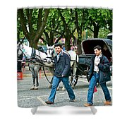 Men And Carriages In A Street Near Saint Sophia's In Istanbul-turkey Shower Curtain