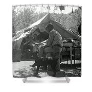 Men At Mining Camp Shower Curtain