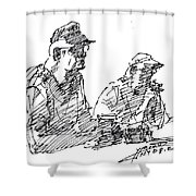 Men At The Bar Shower Curtain