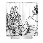 Men At The Cafe Shower Curtain