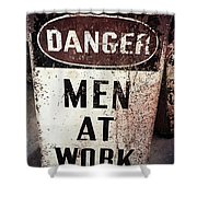 Men At Work Sign Shower Curtain