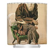 Men Of The Day, No. 33, Charles Darwin, Cartoon From Vanity Fair Shower Curtain