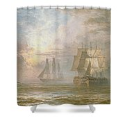 Men Of War At Anchor Shower Curtain by Henry Thomas Dawson