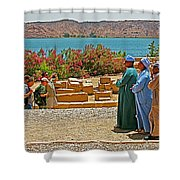Men On Philae Island In Aswan-egypt  Shower Curtain